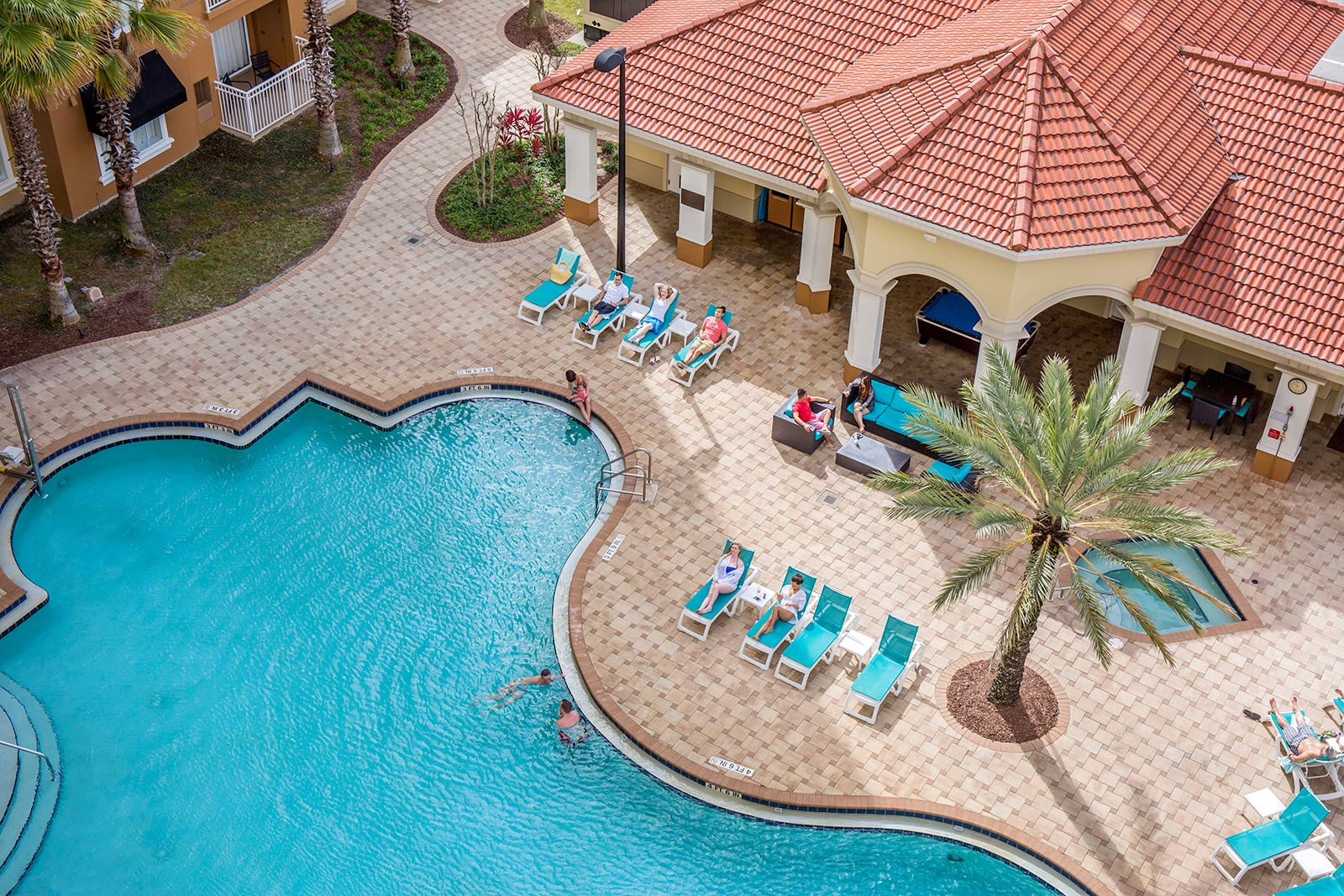 Overhead view of The Point pool in Orlando