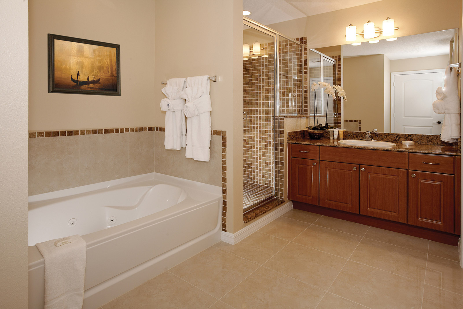 Master bathroom at The Point Hotel and Suites Orlando